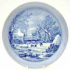 Vintage Currier & Ives Plate Blue White The Farmer's Home Winter Christmas