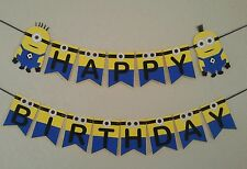 Minion Despicable me Happy Birthday Banner. Free Shipping