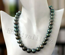 """Natural genuine 10-11mm AAA black Tahitian round pearl necklace 18"""" 14K Clasp"""