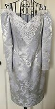 VTG Scott McClintock Satin Brocade Dress Cold Shoulder Formal Bridal Ice Blue 8