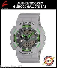 New Authentic Casio G-Shock  GA110TS-8A3 Ana-Digi Watch - Matte Grey/Green