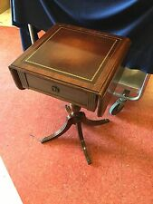 Cute Pair Mahogany Drop Leaf Tables Leather Top