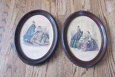 Oval Wood Picture Frame 2 Set Petit Courrier des Dames Paris Vintage Antique
