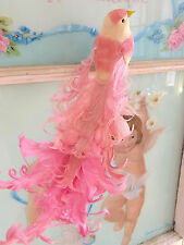 2 Large Shabby Chic Pink Glitter Feather Bird Christmas Decorations Ornaments
