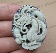Pretty ZiPao Jade Hand Carved Dragon Amulet Lucky Pendant + free Rope Necklace