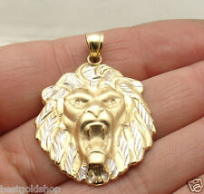 Mens Two-Tone Lion Head Charm Pendant Real Solid 10K Yellow White Gold