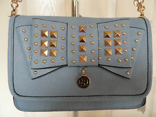 LYDC Ladies Designer Faux Leather Lt. Blue Bow Stud Crossbody Shoulder Handbag.
