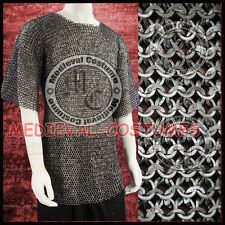 Medieval Chain Mail Shirt Flat Riveted with Flat Washer Chainmail Haubergeon RS0