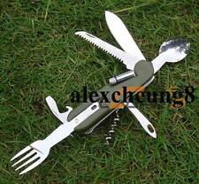 Army Style Camping Fork Spoon Knife Blade Opener With Led Torch