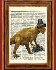 Dinosaur Boombox 80's Music Dictionary Curious Art Print Poster Picture Book