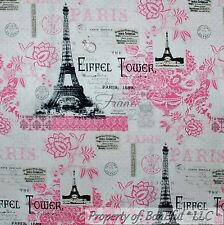 BonEful Fabric Cotton Quilt US White Pink B&W Flower Eiffel Tower Paris FQ SCRAP