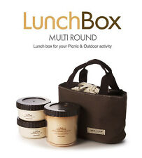 Lunch Box Round Lock & Lock Brown Set Bag Bento Containers Picnic Outdoor Food S