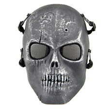 Silver Black Metal Mesh Eye Skull Face Protect Mask Used For War Game Player