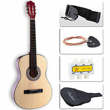 Beginners Acoustic Guitar w/Guitar Case, Strap, Tuner & Pick Steel Strings Brown