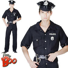 USA Police Officer + Hat Mens New York Cop Fancy Dress Adult Uniform New Costume