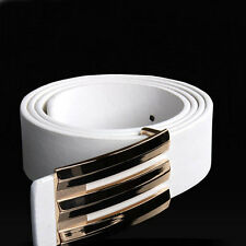 2017 Casual Men's Leather Belt High Quality Buckle Wide Belt Waist Strap white