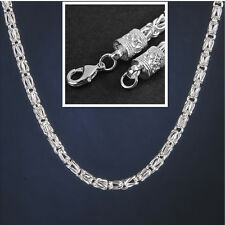 6MM 20 Inch Men Geometry Fashion 925 Sterling Silver Plated Chain Link Necklace