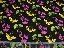 3 Yards Cotton Fabric - Quilting Treasures Waverly So Chic Ginkgo Leaves Black