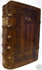 1600s ILLUMINATED MANUSCRIPT Antiphonal LITURGY Original Folio Binding RARE BOOK