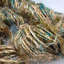 Premium Sari Silk Yarn, Golden Beige/Greens, 100 g  Knit/Crochet/Weave/Textiles