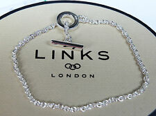 BN GENUINE LINKS OF LONDON CLASSIC T BAR 925 SILVER BRACELET-18CM-5010.2397-xmas