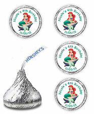108 ARIEL LITTLE MERMAID PERSONALIZED HERSHEY KISSES CANDY FAVORS LABELS