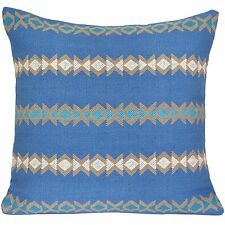 "Handmade Kilim Cushion Cover 16"" 40cm Cotton Indian Persian Moroccan Blue Design"