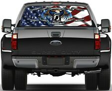 Pow Mia USA 3 Flag Prairie Gold Stone Rear Window Graphic Decal Tint Truck