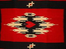 "Chimayo Mexico Woven Rug Bird Arrow Pattern Antique 54"" X 25"""