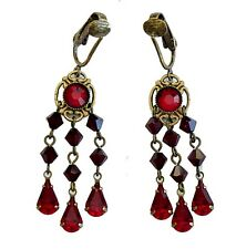 CLIP-ONS Red Austrian Crystal Teardrops Earrings NICKEL FREE Chandelier 6007