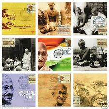 INDIA 2015 SET OF 50 DIFFERENT MAHATMA GANDHI CHARKHA MAX PICTURE POST CARD