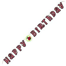 """LIVELY LADYBUGS"" ""HAPPY BIRTHDAY"" JOINTED BANNER 5FT Party Supplies DECORATION"