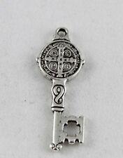 30pcs Tibetan Silver cross oval key charm A12677