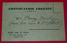 RARE FOOTBALL CONVOCATION RACING CLUB DE FRANCE EQUIPE RESERVE 1930 CHARENTON
