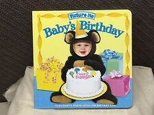 New Picture Me Baby's Birthday Book Brag Keepsake board book insert childs photo