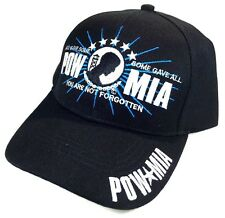 BLACK POW MIA LOGO HAT CAP ADJUSTABLE PRISONER OF WAR MISSING IN ACTION RETRO