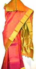 SILK Kanjeevaram South India Saree Sari Gold Tone Blouse Orange Yellow Coral NEW