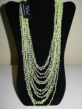 NWT TeSori Beaded Mint Green Layered Strands Beaded Necklace