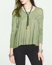2888 Free People New Hope Babydoll Lace Green Long Sleeve High Low Blouse Top XS