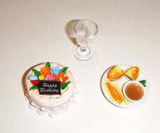 Doll Sized Miniature Cake, Food Tray, Glasses For Barbie Diorama dc3