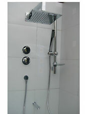 CHROME 3 WAY THERMOSTATIC SHOWER, SQUARE OVERHEAD & HANDHELD, BATH SPOUT SET 088