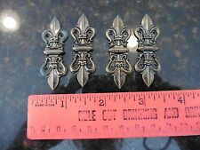 Lot of 4 Homecraft Mini Hinges Brass Vintage style Gothic Fleurdelis Hinge long