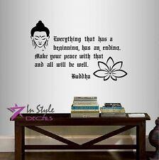 Vinyl Decal Everything that Has a Beginning Buddha Quote Wisdom Yoga Decor 52