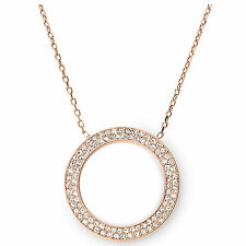 Michael Kors MKJ3296 791 Women's Rose Gold Tone Crystal Circle Necklace Jewelry