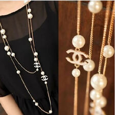 RF Pearl Gold Plated Double Fold Long Chain Statement Necklace Pendant