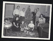 Antique Vintage Photograph Family in Retro Living Room By Christmas Tree - Doll