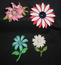 LOT OF 4 VINTAGE 60'S CRYSTAL GLASS RHINESTONE & ENAMEL FLOWER POWER PINS BROOCH