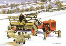 Classic Farming Christmas Card Allis Chalmers Tractor Feeding the Flock of Sheep