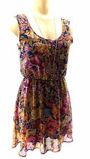 NEW WOMEN'S DEE ELLE PIXELATED NAVY & FLORAL DRESS XS SLEEVELESS ABOVE KNEE