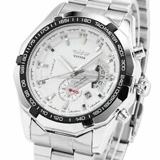 Mens Luxury White Automatic Mechanical Date Stainless Steel Analog Sport Watch